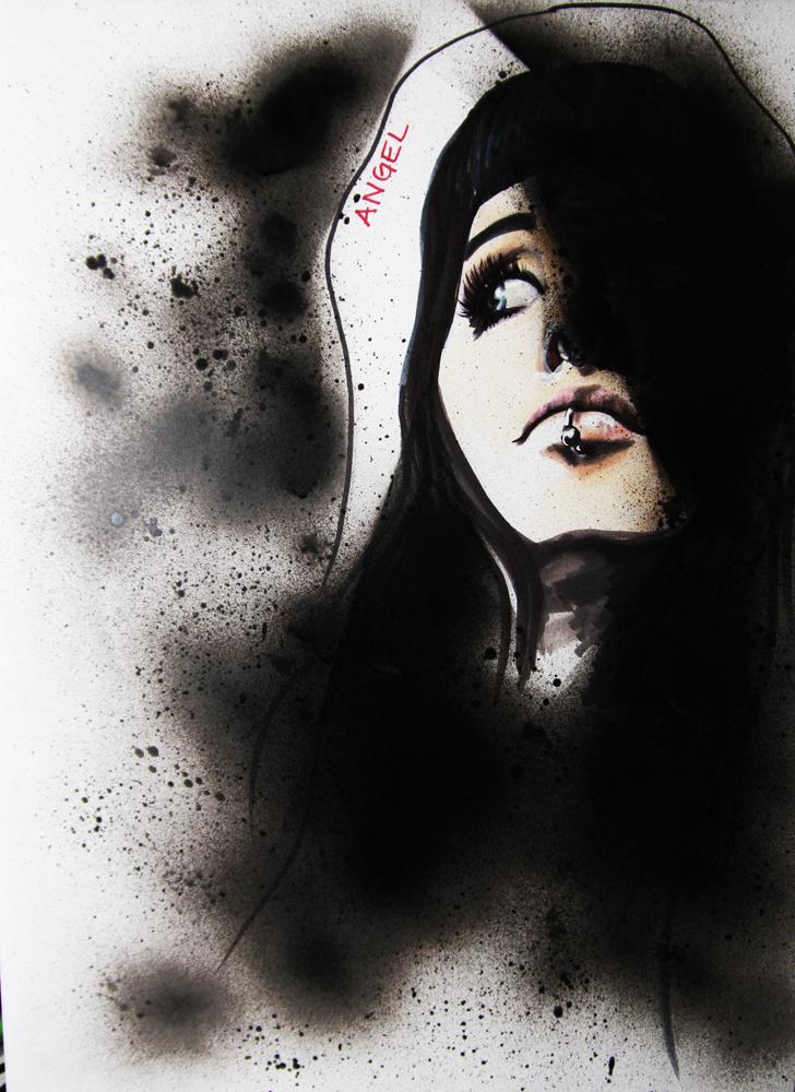 Angel (från min facebooklista), tria marker, promarker och sprayfärg, 2011.