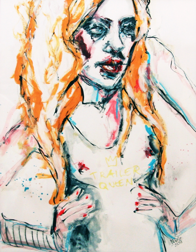 White Trash 2 - Trailer Queen (Invective), acrylics, ink and oil pastel on paper, A3, 2011.