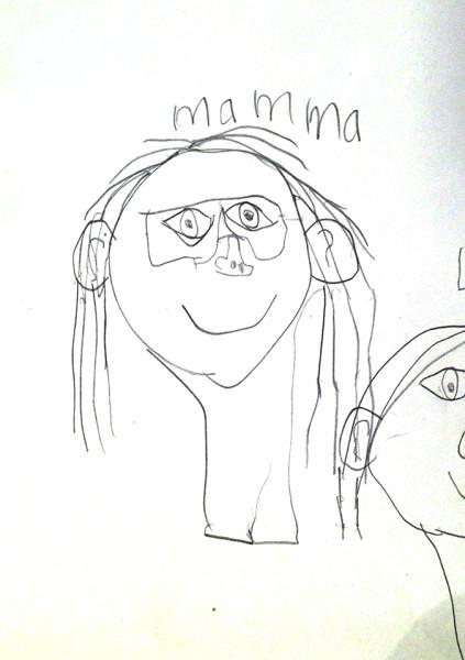 Porträtt av mig ritat at barn