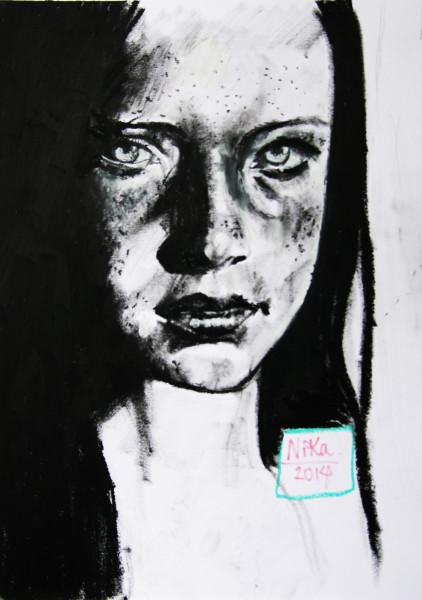 Porträtt ritat med kol och oljekrita