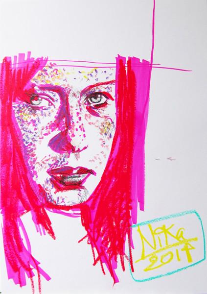 Porträtt ritat med Promarkers