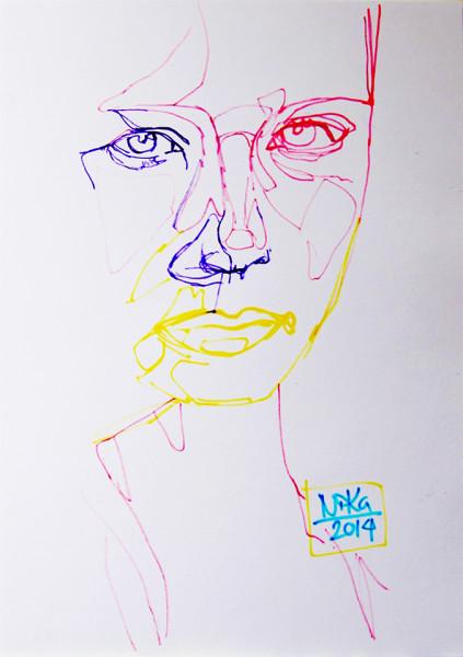 Porträtt ritat med tuschpennor